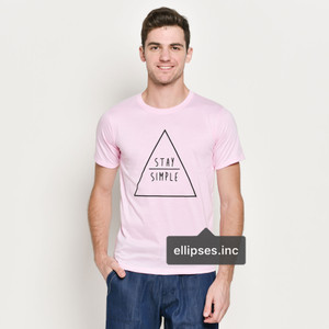 Tumblr Tee / T-Shirt / Kaos Pria Lengan Pendek Stay Simple Warna Pink