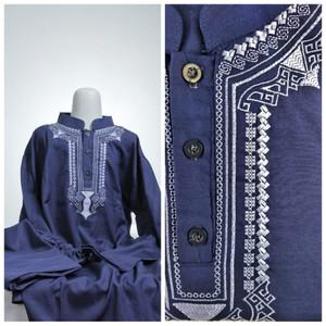 Baju KOKO ANAK Setelan Pakistan Celana Peci Usia 5 6 7 8 Biru Tua Navy