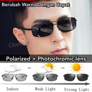 Ori Kacamata Sunglass fotosensitif berubah warna unisex pria wanita