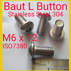Baut Button L M6 x 12 SUS 304