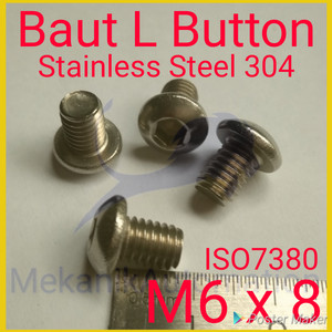 Baut Button L M6 x 8 SUS 304