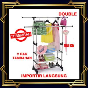 Stand Hanger Double pole 2 Sisi Gantungan Baju Tiang Jemuran Pakaian
