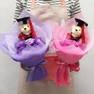 Buket bunga wisuda - kado wisuda murah - boneka wisuda 5bu+1bo