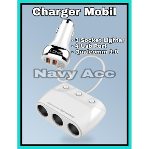 Charger Mobil Combo 3 Socket Lighter Fast Charging Ldnio 4 Usb C504