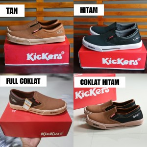 Sepatu Kickers MX One Slip On Casual Santai Formal Pria Coklat Hitam