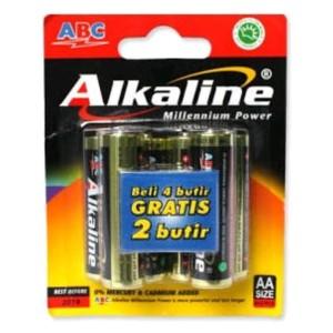 Baterai ABC Alkaline AA / A2 LR6 1.5V 4+2 Battery Original