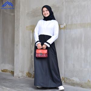 Muslimore - Gamis Kerja Hitam Putih Balotelli Murah Formal XOB-01