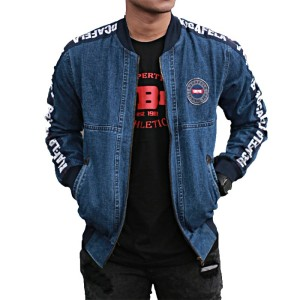 Jaket Jeans Pria Bomber Jeans Taping
