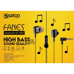 SATOO FANES Headset Earphone Handsfree High Bass With Microphone - Putih