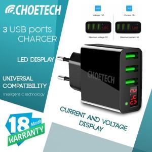 Charger Universal 3 Port LED Display Smart Charging CHOETECH C0027 BK