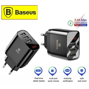 Baseus 3 Ports USB Charger LED Display Multi Travel 3.4A Fast