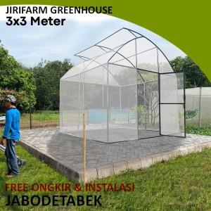 Jirifarm GREEN HOUSE ukuran 3x3 meter KNOCK DOWN Rangka Pipa Besi