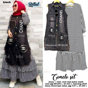 Conelo set setelan maxidress dress mosscrepe dan vest jeans