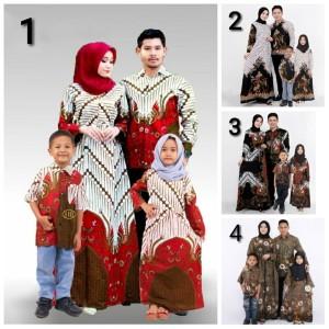 couple gamis batik sekar + anak/ setelan baju batik / pakaian keluarga