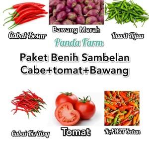 Paket Hemat Benih Sambelan aneka Cabai+tomat+bawang merah