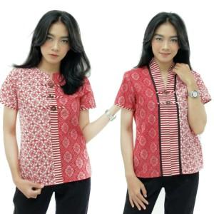 Blouse batik Wanita Modern Warna Merah Putih S-M-L-XL-XXL-3L-4L-5L