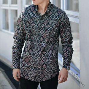Kemeja Panjang Batik Pria Songket Diamond Hitam Navy Brown Original
