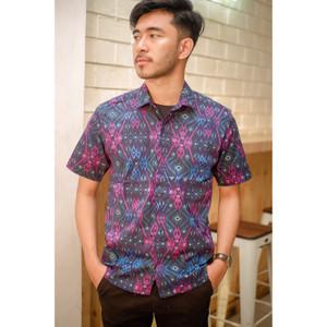 Kemeja Batik Pria Pendek Songket HItam Original