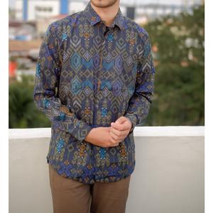 Kemeja Long Batik Songket Black / Purple/ Brown/ Tosca