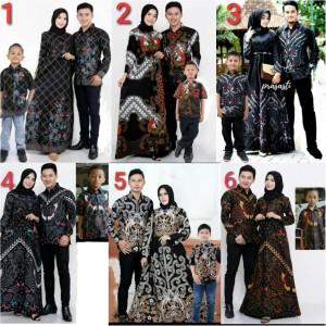 Baju batik couple bambu ayah ibu & anak cowok pakaian batik keluarga