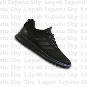 Sepatu Sport Adidas Cloudfoam Full Black Hitam Casual Olahraga Sekolah
