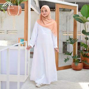 Muslimore Baju Muslim Wanita Gamis Murah Putih Polos Balotelli XNB-03