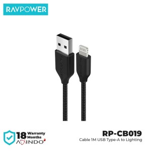 RAVPower Cable 1m USB-A to Lightning [RP-CB019] - Black