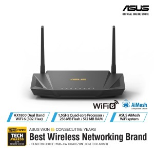ASUS RT-AX56U Dual Band WiFi 6 AX1800 Wireless Router with AiMesh