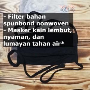 HITAM Design MASKER BEDAH Bisa 3ply 4ply Filter Bebas Masker Kain