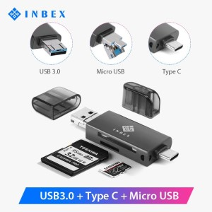 INBEX Card Reader kartu memori TF/SD USB 3.0 padat & portable