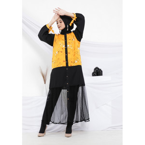 Hijab Ellysha 2IN1 FLAVIA TULLE RIBBON DRESS OUTER MUSTARD