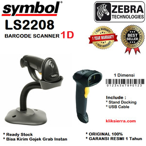 ZEBRA LS-2208 Barcode Scanner Symbol LS2208 Motorola USB 1Dimensi