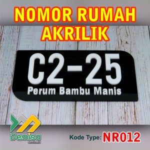 Nomor Rumah Akrilik - 25 x 15cm - (Type NR012)