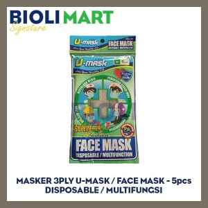 MASKER 3PLY EARLOOP U-MASK | DISPOSABLE - 5pcs