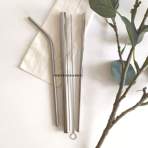 SEDOTAN SET+SIKAT PEMBERSIH 4in1 STAINLESS STEEL 4Warna Reusable STRAW