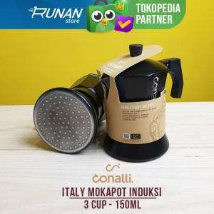 Mokapot Induction 3 cup 150ml Hitam - Conalli Moka Pot 3 cup Induksi