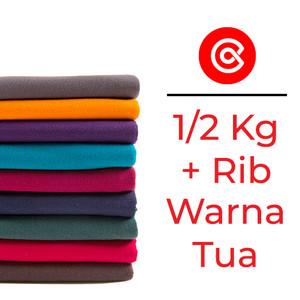 Kain kaos bahan kaos katun cotton combed 24s,30s warna tua 1/2Kg + Rib