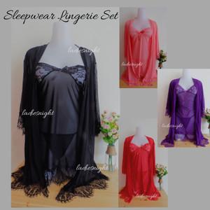Black Valeria Sexy Nightdress Lingerie Set -Inner Dress, Robe +Gstring