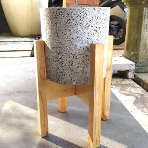 Pot Granit Tabung Standing Kayu