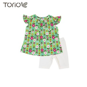 Torio Green Floral Outwear Set - Baju Anak Setelan Anak Perempuan - 6-9 bulan