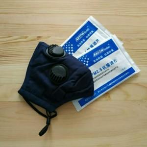 Masker PM 2.5 Triple Valve (3 Katup) Incld 2 Pcs Filter PM 2.5 - Navy