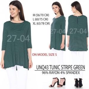 Baju Branded Wanita - UNIQLO 43 TUNIC STRIPE GREEN