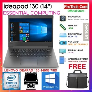 "LAPTOP LENOVO IDEAPAD IP130 INTEL CORE i3 7020U 4GB 1TB 14"" W10 RESMI"