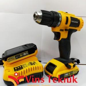 mesin bor baterai 10mm 21V nagawa Cordless drill
