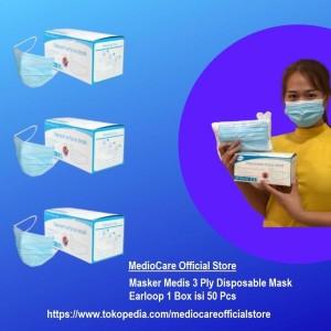 Mediocare Masker Medis 3 Ply Disposable Mask Earloop 1 Box isi 50