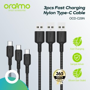 Oraimo Bundle 3pcs Kabel Data USB Type-C Fast Charging Cable OCD-C29N