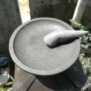 Cobek Batu Kali Pori Bulat Ukuran 30cm + Ulekan