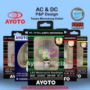Lampu LED Motor H6 Hi-Lo 8W+8W AC DC AYOTO M2B BEBEK DAN MATIC