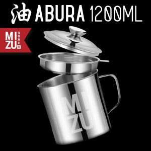 ABURA Oil Pot Saringan Tempat Minyak 1200ml Stainless Steel No Drip