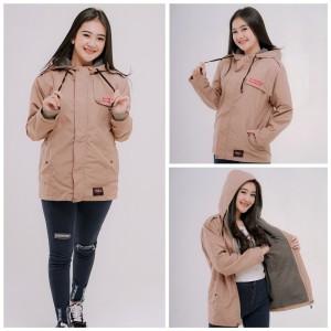 Harga jaket wanita semi parka dalam flecce jaket wanita parasit premium   orange | HARGALOKA.COM